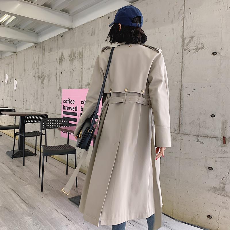 兩件套雙排扣風衣女中長款修身2020年春裝顯瘦新款氣質休閑長外套