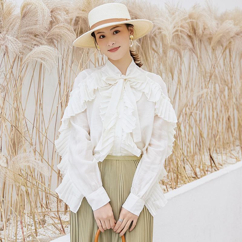 KCOU/酷丑2019春裝新款百褶蝴蝶結韓版長袖洋氣超仙雪紡衫女裝