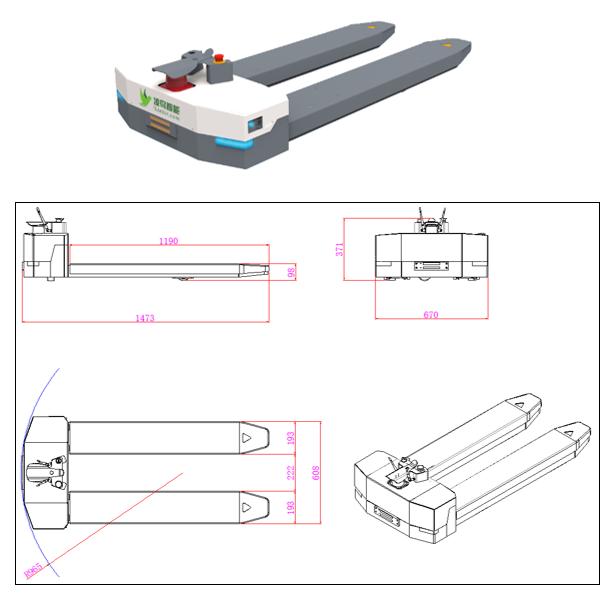 地牛搬运叉车AGV—L100小车具体参数介绍;1、车体类型:地牛搬运式AGV智能叉车(L100);2、导航方式:激光导航;3、额定载重:1000kg;4、举升高度:60mm;5、定位精度:±10mm;6、自重:200kg;7、车体尺寸:(L×W×D)L1473×W670×H371(mm);8、转弯半径:965mm