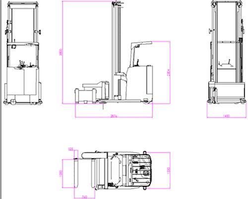 三向叉车AGV—LS150AGV车体介绍;1、车体类型:大前移式无人叉车AGV(LS150);2、导航方式;AGV激光导航;3、额定载重:2000kg;4、智能叉车举升高度:6000mm5、定位精度:±10mm;6、自重:3500kg;7、车体尺寸(L×W×D)L2876×W1330×H3800(mm) 8、转弯半径:1880mm;9、AGV堆垛通道(L1200*W1000mm托盘)1740mm;10、行驶速度(满/空)40/50(m/min)可调