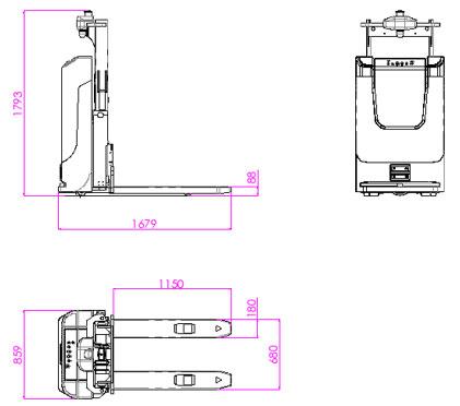 凌鸟智能叉腿堆垛式叉车AGV—LC100具体参数介绍;1、车体类型:叉腿堆垛式叉车(LC100);2、导航方式:激光导航AGV;3、额定载重:1500kg;4、AGV叉车举升高度:1200mm;5、定位精度:±10mm;6、自重:600kg;7、AGV车体尺寸(L×W×D):L1679×W859×H1794(mm);8、转弯半径:1270mm;9、堆垛通道(L1200*W1000mm托盘):≥2400mm;10、智能叉车行驶速度(满/空):60/L1679×W859×H1794(mm)